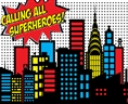 Click Props Vinyl with Print Calling All Superheroes 3.00 x 2.44M