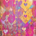 Click Props Background Vinyl with Print Hearts Golds 1.52 x 1.52M